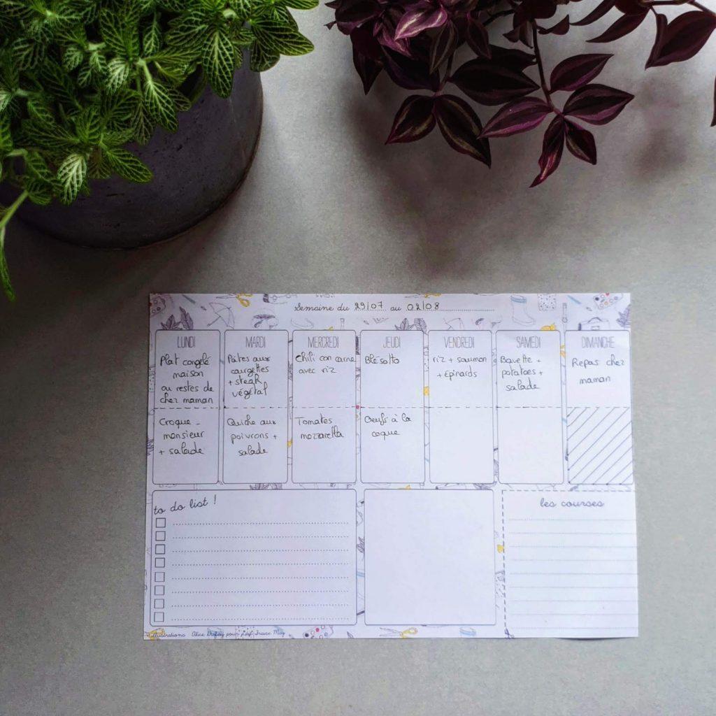 Exemple de menu pour la semaine